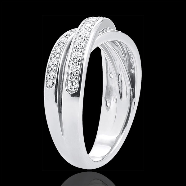 Anneau Saturne Diamant - or blanc 9 carats - 29 diamants