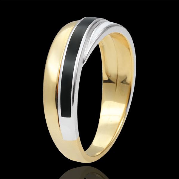 Anneau Saturne - duo de laques - or blanc et or jaune 9 carats