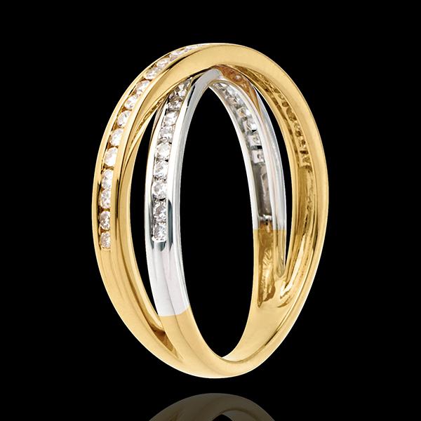 Anneau tandem pavé - 0.26 carats - 43 diamants - or blanc et or jaune 18 carats