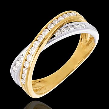 Anneau tandem pavé - 0.38 carats - 25 diamants - or blanc et or jaune 18 carats