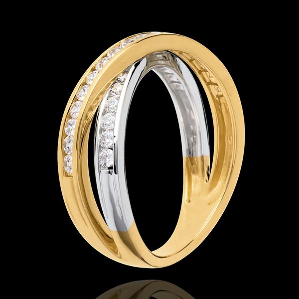 Anneau Tandem pavé - 0.52 carats - 29 diamants - or blanc et or jaune 18 carats