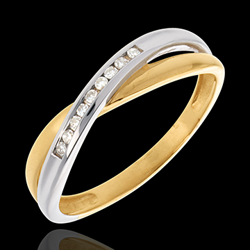 Anneau tandem serti diamants - 9 diamants - or blanc et or jaune 18 carats