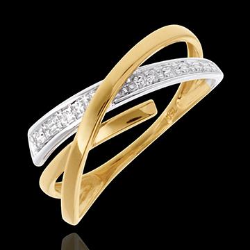 Anneau Voltige pavé - 3 diamants - or blanc et or jaune 18 carats