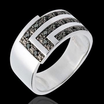 AP3213 - Bague équerre or blanc 18 carats et diamants noirs