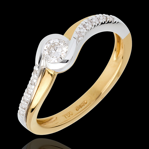 Aquarius yellow gold Ring and paved white gold diamond set shoulders - 0.25 carat