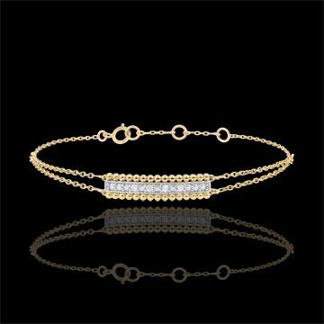 Armband Gezouten Bloem - twee ringen - geel goud - 18 karaat