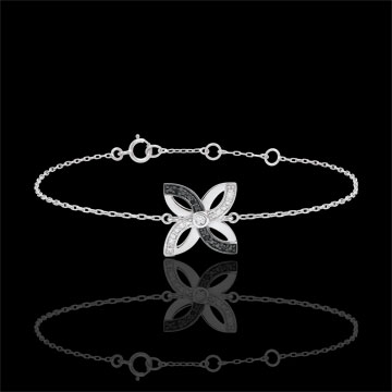 Armband Frisheid - Zomerbloem - wit goud en zwarte diamanten