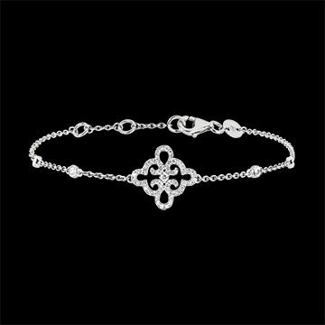 Armband Frisheid - Bloem - wit goud 9 karaat en diamanten