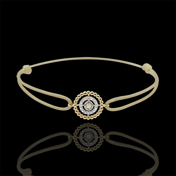Armband Fleur de Sel - Kranz - Gelbgold - Beiges Band