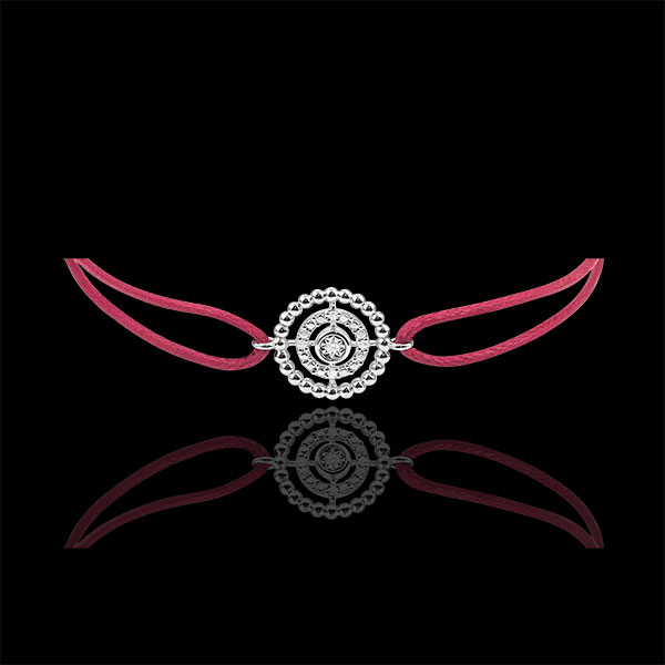 Armband Fleur de Sel - Kranz - Weißgold - Rotes Band