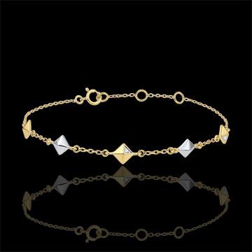 Armband Genesis - Ruwe Diamanten - 2 goudkleuren - 5 patronen - 9 karaat witgoud en geelgoud