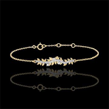 Armband Verzauberter Garten - Königliches Blattwerk - Gelbgold und Diamanten - 18 Karat