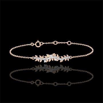 Armband Verzauberter Garten - Königliches Blattwerk - Rotgold und Diamanten - 9 Karat