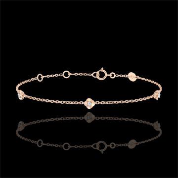 Armband Ontluiking - Kroon van rozen - Diamanten - rozégoud 9 karaat