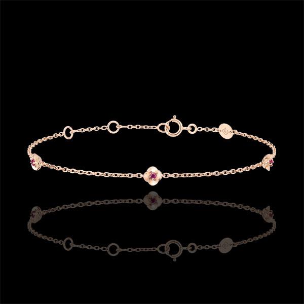 Armband Ontluiking - Kroon van rozen - robijn - 18 karaat rozégoud