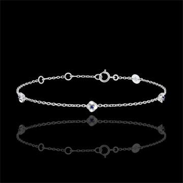 Armband Ontluiking - Kroon van rozen - Saffier - 9 karaat witgoud