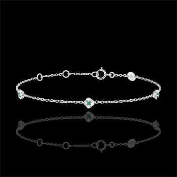 Armband Ontluiking - Kroon van rozen - smaragd - 18 karaat witgoud