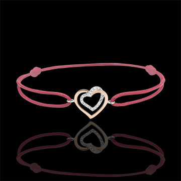 Armband Verstrengelde Harten roze goud wit goud en diamanten - rode koord