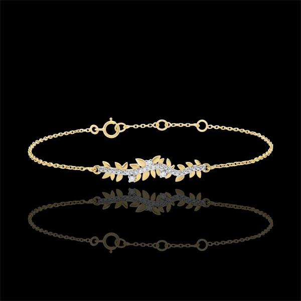 Armband Verzauberter Garten - Königliches Blattwerk - Gelbgold und Diamanten - 9 Karat