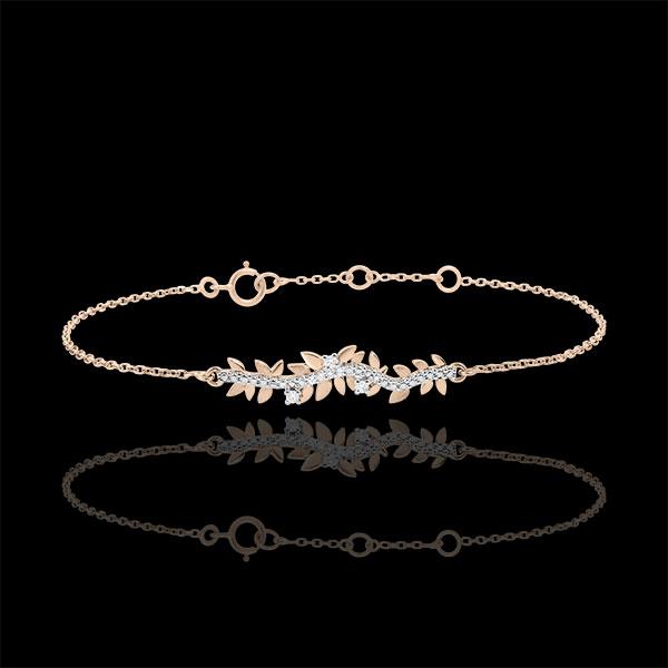 Armband Verzauberter Garten - Königliches Blattwerk - Roségold und Diamanten - 9 Karat