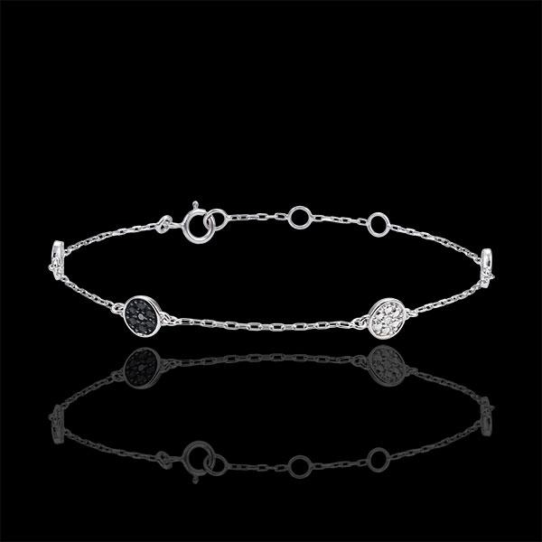 Armband Weissgold Myriade von Sternen - Weisse- und schwarze Diamanten