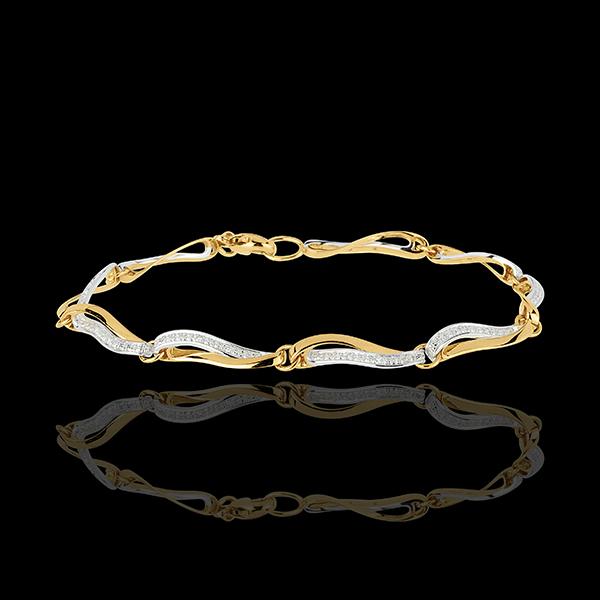 Armband Wellen des Nil - Weißgold und Gelbgold mit Diamanten