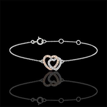 Armband witgoud en rozégoud met diamanten - Geweven Harten - 9 karaat goud