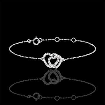 Armband witgoud met diamanten - Geweven Harten - 9 karaat goud
