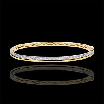 Armreif Eleganz - Gelbgold, Weißgold und Diamanten - 18 Karat