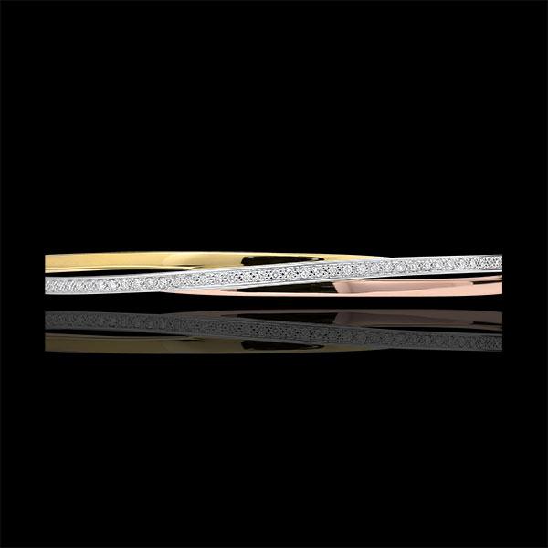 Armreif Saturn - Tricolor und Diamanten - 9 Karat