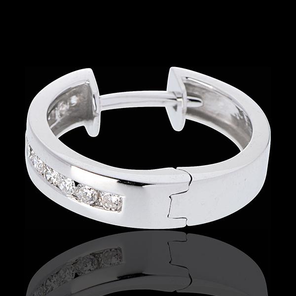 Aros oro blanco diamantes - engaste raíl - 0,24 quilates - 22 diamantes