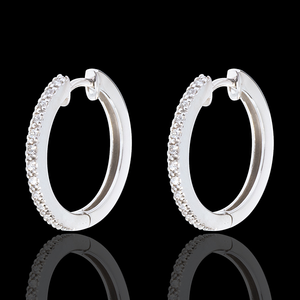 Aros semi empedrados oro blanco - 26 diamantes