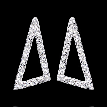Astral Square Earrings - 9K white gold and diamonds
