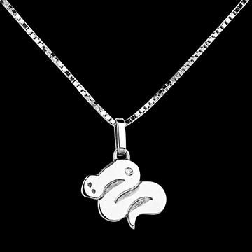 Baby slang - groot model - 18 karaat witgoud