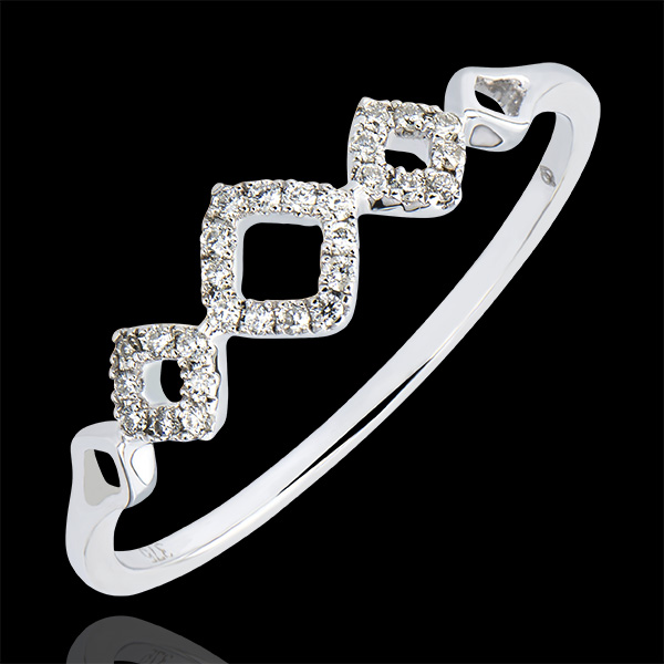 Bague Abondance - Losangelique - or blanc 9 carats et diamants
