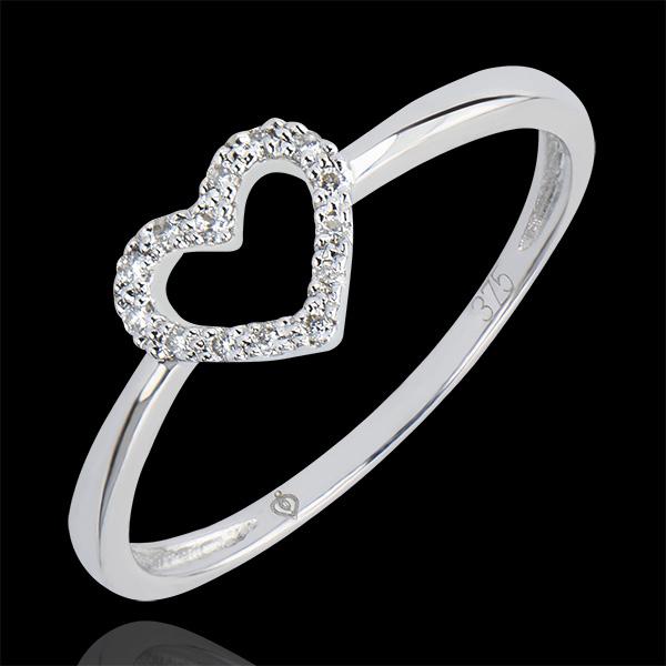 Bague Abondance - Petit Cœur - or blanc 9 carats et diamants