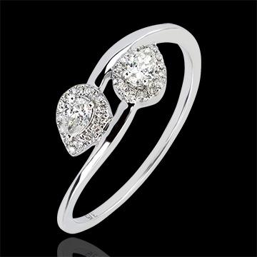 Bague Abondance - Toi & Moi Diamants Poires - or blanc 9 carats et diamants