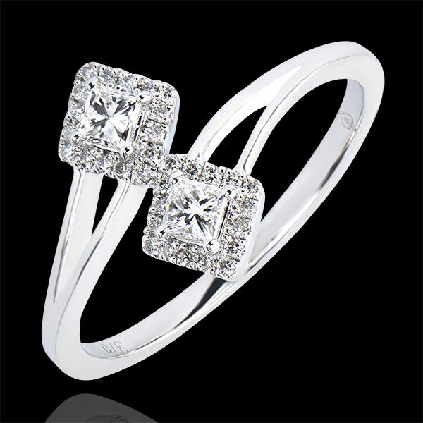 Bague Abondance - Toi & Moi Diamants Princesses - or blanc 9 carats et diamants
