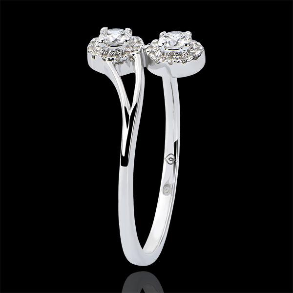 Bague Abondance - Toi & Moi Diamants Ronds - or blanc 9 carats et diamants
