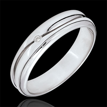 Bague Amour - Alliance homme or blanc 9 carats - diamant 0.022 carat