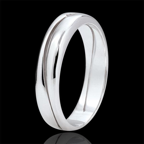 Bague Amour - Alliance homme or blanc 9 carats - diamant 0.022 carat
