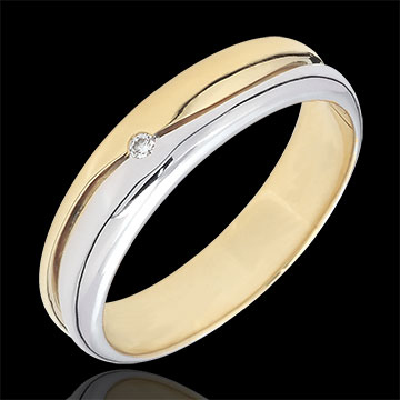 Bague Amour - Alliance homme or blanc et or jaune 9 carats - diamant 0.022 carat