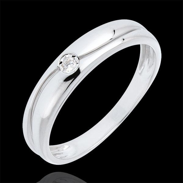 Bague Amour or blanc 9 carats et diamant - diamant 0.022 carat