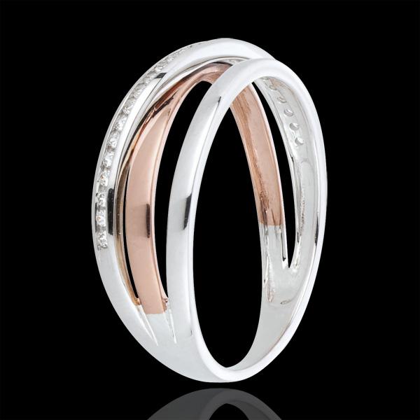 Bague anneaux variation et diamants - or blanc et or rose 18 carats
