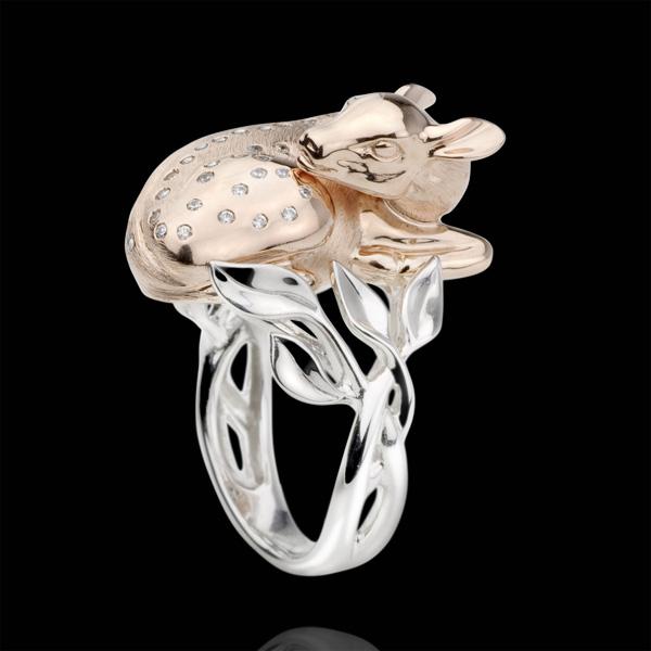 Bague Balade Imaginaire - Faon rêveur - diamants - or blanc et or rose 18 carats