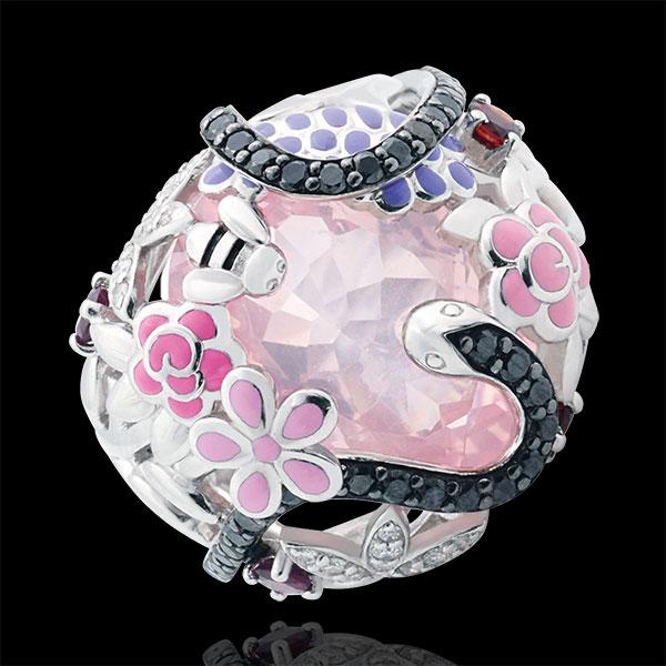 Bague Balade Imaginaire - Paradis rose - Argent, diamants et pierres fines