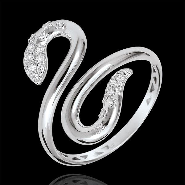 Bague Balade Imaginaire - Serpent d'amour - or blanc 9 carats et diamants