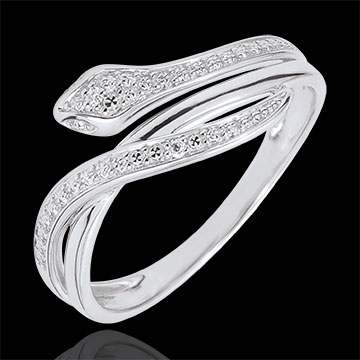 Bague Balade Imaginaire - Serpent Envoutant - or blanc 9 carats et diamants