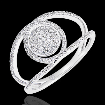 Bague Baladine - or blanc 9 carats et diamants