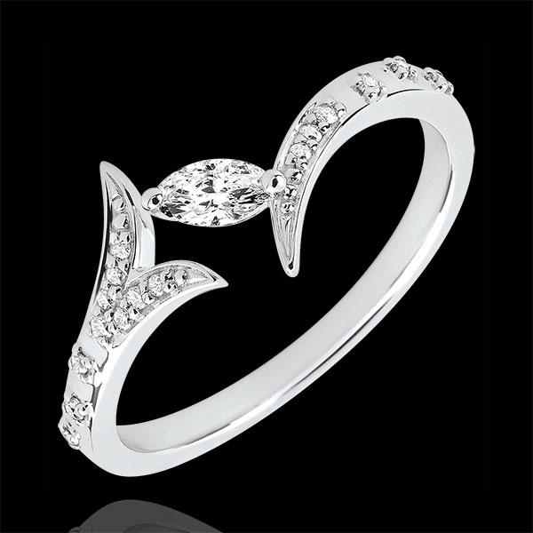 Bague Bois Mystérieux - Petit modèle - or blanc 9 carats et diamant navette